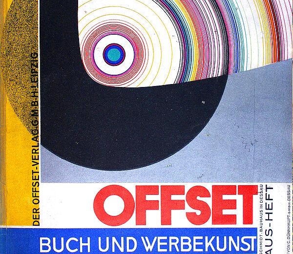 """Joost Schmidt,Umschlaggestaltung der Zeitschrift """"Offset. Buch und Werbekunst"""" (Bauhaus-Heft),4°, 80 ill. S. m. 14 meist farb. Tafeln & 24 S. Werbung;Broschur, Nr. 7, Juli 1926"""