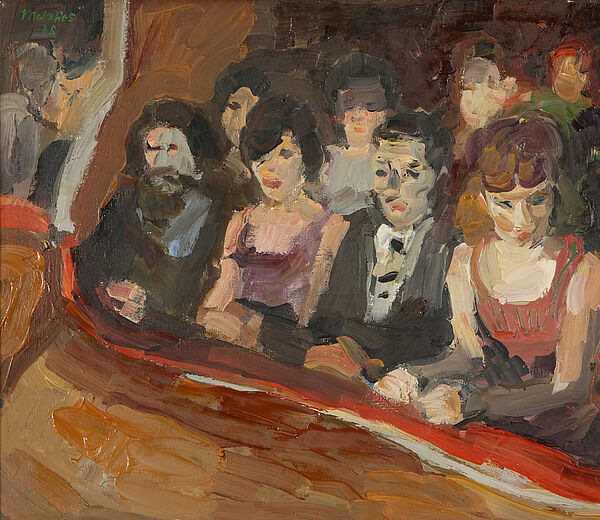 """Harald Metzkes, """"Theaterloge"""", Öl auf Leinwand, 1976"""